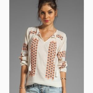 Joie Embroidered Nira Blouse Long Sleeve Medium